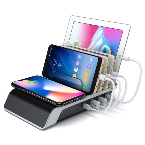 (45W) 4-Port USB Charging Station / Qi Wireless Charger Stand for Phone & Tablet